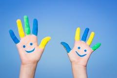 Ευτυχή χέρια smiley στοκ εικόνα
