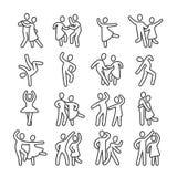 Ευτυχή χορεύοντας εικονίδια ζευγών γυναικών και ανδρών Διανυσματικά εικονογράμματα τρόπου ζωής χορού Disco απεικόνιση αποθεμάτων