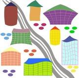 Ευτυχή χορεύοντας σπίτια πόλεων διανυσματική απεικόνιση