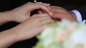 Ευτυχή όμορφα newlyweds που κρατούν μαλακά τα χέρια κοντά επάνω στο μαύρο υπόβαθρο Γαμήλια ανθοδέσμη στο πρώτο πλάνο απόθεμα βίντεο
