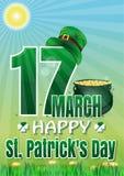 ευτυχή patricks ST ημέρας 17 Μαρτίου Ευχετήρια κάρτα, αφίσα για την ημέρα του ST Patricks Στοκ Φωτογραφίες