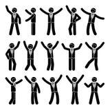 Ευτυχία αριθμού ραβδιών, ελευθερία, σύνολο επιχειρηματιών κινήσεων διανυσματική απεικόνιση