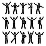 Ευτυχία αριθμού ραβδιών, νικητής, σύνολο επιχειρηματιών κινήσεων Η διανυσματική απεικόνιση του εορτασμού θέτει το γραπτό εικονόγρ απεικόνιση αποθεμάτων