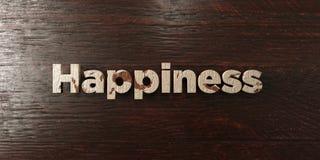 Ευτυχία - βρώμικος ξύλινος τίτλος στο σφένδαμνο - τρισδιάστατο δικαίωμα ελεύθερη εικόνα αποθεμάτων διανυσματική απεικόνιση