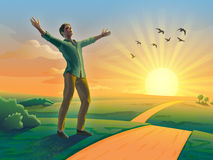 Ευτυχία ηλιοβασιλέματος ελεύθερη απεικόνιση δικαιώματος