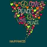 Ευτυχία κειμένων Σύμβολο αγάπης, ειρήνης και φιλειρηνισμού στο ζωηρόχρωμο κολάζ Στοκ Φωτογραφίες