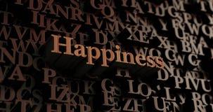 Ευτυχία - ξύλινες τρισδιάστατες επιστολές/μήνυμα απεικόνιση αποθεμάτων