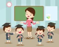 Ευτυχία σπουδαστών και δασκάλων βαθμολόγησης διανυσματική απεικόνιση