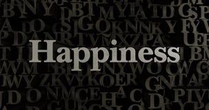 Ευτυχία - τρισδιάστατη μεταλλική στοιχειοθετημένη απεικόνιση τίτλων απεικόνιση αποθεμάτων