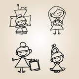 Ευτυχία χαρακτήρα κινουμένων σχεδίων σχεδίων χεριών Στοκ Εικόνες