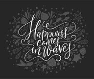 Ευτυχία cpmes στα κύματα Διανυσματική γράφοντας κάρτα Στοκ φωτογραφία με δικαίωμα ελεύθερης χρήσης
