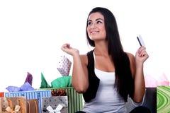 ευτυχείς αγορές κοριτ&sig Στοκ εικόνες με δικαίωμα ελεύθερης χρήσης
