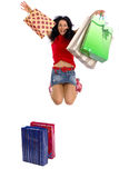 ευτυχείς αγορές κοριτ&sig Στοκ Φωτογραφία