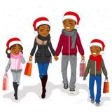 Ευτυχείς αγορές οικογενειακών Χριστουγέννων ελεύθερη απεικόνιση δικαιώματος