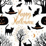 Ευτυχείς αποκριές, κολοκύθες, γάτες και ρόπαλα. Μαύρο TR Στοκ εικόνα με δικαίωμα ελεύθερης χρήσης