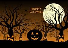 Ευτυχείς αποκριές, νύχτα, φεγγάρι, ανατριχιαστικά δέντρα, κολοκύθα, κτυπούν απεικόνιση αποθεμάτων