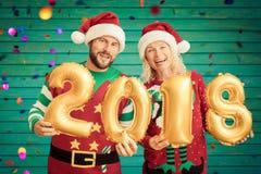 Ευτυχείς αριθμοί 2018 εκμετάλλευσης ζευγών Στοκ φωτογραφία με δικαίωμα ελεύθερης χρήσης