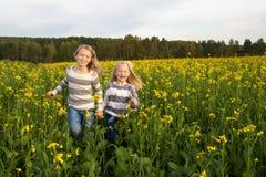 Ευτυχείς αδελφές παιδιών που τρέχουν γύρω από να γελάσει μέσα στοκ φωτογραφίες με δικαίωμα ελεύθερης χρήσης