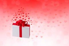 Ευτυχείς βαλεντίνοι ή ημέρα γάμου Αφηρημένο κόκκινο υπόβαθρο διακοπών αγάπης ρομαντικό με τις καρδιές και ένα κιβώτιο δώρων με τη ελεύθερη απεικόνιση δικαιώματος