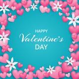 ευτυχείς βαλεντίνοι ημέρ Όμορφη και χαριτωμένη κάρτα με τις καρδιές και το ΛΦ απεικόνιση αποθεμάτων