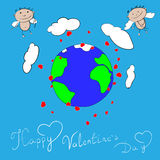 Ευτυχείς βαλεντίνοι ημέρα Cupid ελεύθερη απεικόνιση δικαιώματος