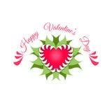 ευτυχείς βαλεντίνοι ημέ&rho Κόκκινες καρδιά και εγκαταστάσεις Στοκ Εικόνες