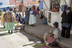 Ευτυχείς βολιβιανές κυρίες που φορούν τα παραδοσιακά ενδύματα και τα καπέλα σφαιριστών Στοκ Εικόνα