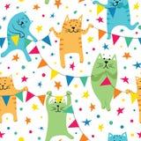 Ευτυχείς γάτες Birhday Στοκ Εικόνα