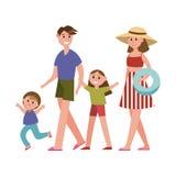 Ευτυχείς γονείς με τα παιδιά στους χαρακτήρες κινουμένων σχεδίων θερινών διακοπών, διανυσματική απεικόνιση παραθαλάσσιων διακοπών Στοκ Φωτογραφία