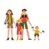 Ευτυχείς γονείς με τα παιδιά στους χαρακτήρες κινουμένων σχεδίων θερινών διακοπών, διανυσματική απεικόνιση ταξιδιού στρατοπέδευση Στοκ φωτογραφία με δικαίωμα ελεύθερης χρήσης
