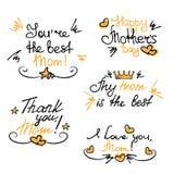 Ευτυχείς γράφοντας αυτοκόλλητες ετικέττες χεριών ημέρας μητέρων ` s απεικόνιση αποθεμάτων