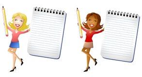 ευτυχείς γυναίκες σημειωματάριων εκμετάλλευσης ελεύθερη απεικόνιση δικαιώματος