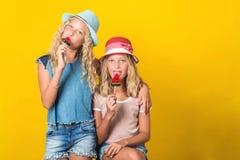 Ευτυχείς δίδυμες αδελφές στα θερινά καπέλα Κορίτσια εφήβων που θέτουν στο κίτρινο υπόβαθρο Αδελφές στη μοντέρνη θερινή εξάρτηση Α στοκ φωτογραφία