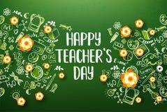 Ευτυχείς διακοπές ημέρας δασκάλων με τα λουλούδια Στοκ Εικόνα