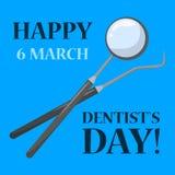 Ευτυχείς διακοπές ημέρας οδοντιάτρων Οδοντική προσοχή και προφορικός διανυσματική απεικόνιση