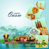 Ευτυχείς διακοπές Onam για το υπόβαθρο φεστιβάλ της νότιας Ινδίας απεικόνιση αποθεμάτων
