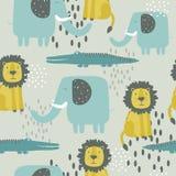 Ευτυχείς ελέφαντες, κροκόδειλοι, λιοντάρια, διακοσμητικό χαριτωμένο υπόβαθρο Ζωηρόχρωμο άνευ ραφής σχέδιο με τα ζώα διανυσματική απεικόνιση