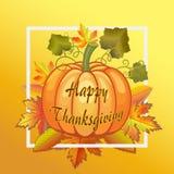 Ευτυχείς εορτασμοί ημέρας των ευχαριστιών με τις κολοκύθες Διακόσμηση, φρούτα διανυσματική απεικόνιση