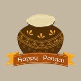 Ευτυχείς εορτασμοί φεστιβάλ Pongal με το παραδοσιακό δοχείο λάσπης διανυσματική απεικόνιση