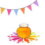 Ευτυχείς εορτασμοί φεστιβάλ Pongal με το παραδοσιακό δοχείο απεικόνιση αποθεμάτων