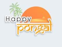 Ευτυχείς εορτασμοί Pongal με το ζαχαροκάλαμο ελεύθερη απεικόνιση δικαιώματος