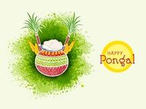 Ευτυχείς εορτασμοί Pongal με το παραδοσιακό δοχείο διανυσματική απεικόνιση