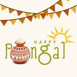 Ευτυχείς εορτασμοί Pongal με το ρύζι στο παραδοσιακό δοχείο λάσπης ελεύθερη απεικόνιση δικαιώματος