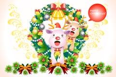 Ευτυχείς διακοσμήσεις στεφανιών Χριστουγέννων με τον τάρανδο μωρών - διανυσματικό eps10 απεικόνιση αποθεμάτων