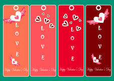 Ευτυχείς κάρτες ημέρας βαλεντίνων, καρδιά, απεικονίσεις ημέρας βαλεντίνων και στοιχεία τυπογραφίας Στοκ Εικόνες