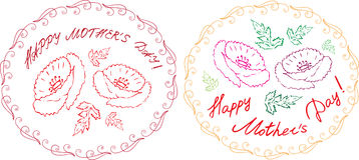 Ευτυχείς κάρτες ημέρας μητέρων ` s που τίθενται με τα handdrawn floral στοιχεία και Στοκ φωτογραφία με δικαίωμα ελεύθερης χρήσης