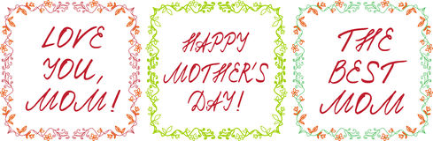 Ευτυχείς κάρτες ημέρας μητέρων ` s που τίθενται με τα handdrawn floral σύνορα και Στοκ εικόνα με δικαίωμα ελεύθερης χρήσης