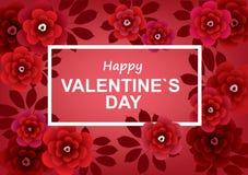 ευτυχείς καρδιές ημέρας καρτών που αγαπούν το βαλεντίνο του s δύο με τα λουλούδια σε ένα πλαίσιο Στοκ Εικόνες