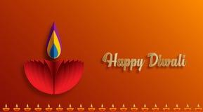 Ευτυχείς λαμπτήρες Diwali Diya αναμμένοι κατά τη διάρκεια του εορτασμού diwali στοκ εικόνα