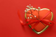 Ευτυχείς λουλούδια και καρδιές διακοπών ημέρας βαλεντίνων Στοκ Φωτογραφία